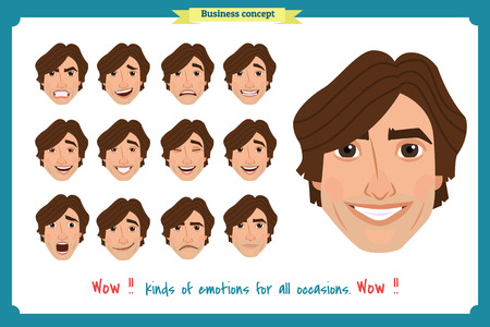 Set of male facial emotions  young man emoji character with