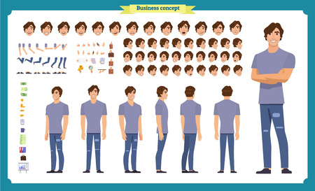 Illustration pour Young man in casual clothes. Character creation set. Full length, different views, emotions, gestures, isolated against white background. Build your own design. Cartoon flat-style vector illustration - image libre de droit
