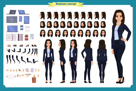 Ilustración de Set of Businesswoman character design.Front, side, back view animated character.Business girl character creation set with various views, poses and gestures. Cartoon style, flat vector isolated - Imagen libre de derechos