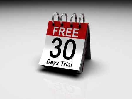 A calendar with 30 Days Free trial printed on the date
