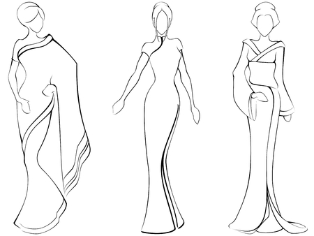 Sketch of women in traditional asian dresses. The file can be scaled to any size.