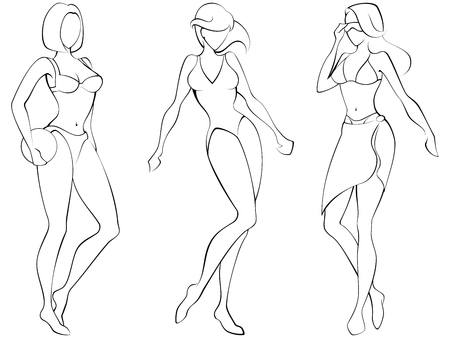 Sketch of three women in beach-wear. Graphics are grouped and in several layers for easy editing. The file can be scaled to any size.