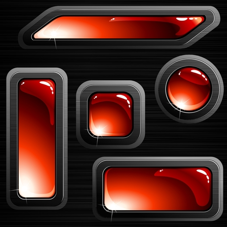 Collection of red glossy buttons with a brushed steel frame. Graphics are grouped and in several layers for easy editing. The file can be scaled to any size.