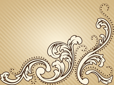 Elegant horizontal sepia tone background inspired by Victorian era designs. Graphics are grouped and in several layers for easy editing. The file can be scaled to any size.