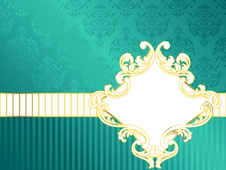 Elegant turquoise label inspired by Rococo era designs. Graphics are grouped and in several layers for easy editing. The file can be scaled to any size.