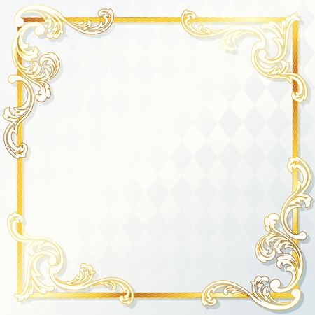 Elegant white and gold wedding frame. Graphics are grouped and in several layers for easy editing. The file can be scaled to any size.