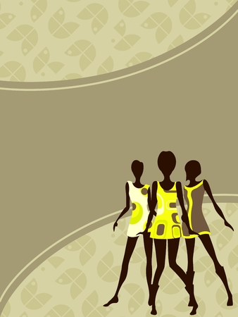 Olive green mod banner with female silhouettes  Graphics are