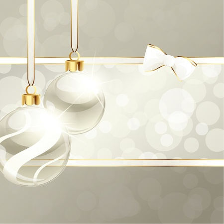 White and beige banner with transparent Christmas ornaments. Graphics are grouped and in several layers for easy editing. The file can be scaled to any size.