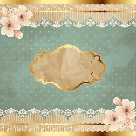 Romantic floral vintage illustration with lacy decorative elements  Graphics are grouped and in several layers for easy editing  The file can be scaled to any size