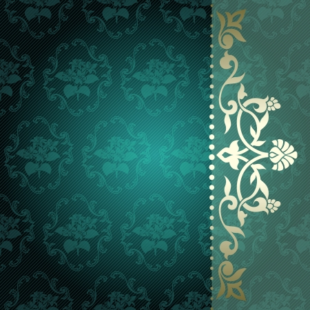 Elegant deep green arabesque background with floral metallic ornaments  Graphics are grouped and in several layers for easy editing