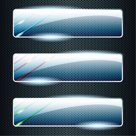 Three transparent, shiny glass banners in green, blue, and red  Graphics are grouped and in several layers for easy editing  The file can be scaled to any size