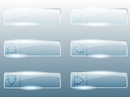 Six transparent, shiny glass buttons  Graphics are grouped and in several layers for easy editing  The file can be scaled to any size
