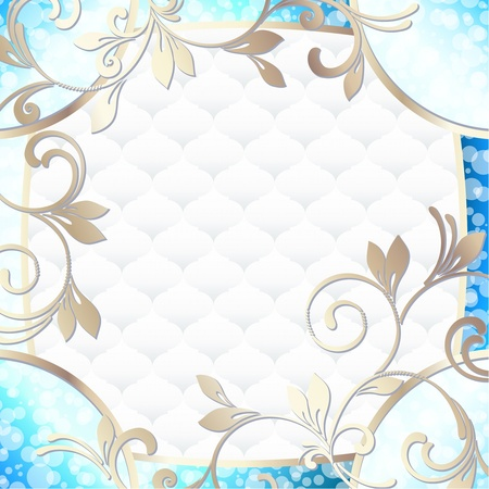 Elegant bright blue frame inspired by Rococo era designs  Graphics are grouped and in several layers for easy editing  The file can be scaled to any size