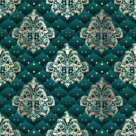 Green seamless pattern inspired by Rococo era designs.  The tiles can be combined seamlessly. Graphics are grouped and in several layers for easy editing. The file can be scaled to any size.