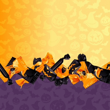 Orange and purple Halloween background with candy  Graphics are grouped and in several layers for easy editing  The file can be scaled to any size