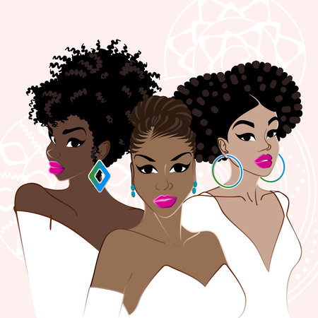 Illustration of a group of beautiful, dark-skinned women with natural hair. Graphics are grouped and in several layers for easy editing. The file can be scaled to any size.