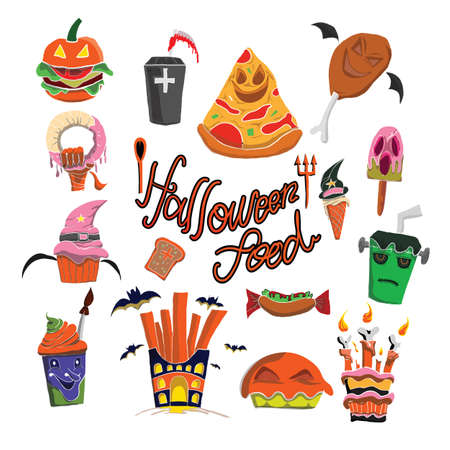 Illustration for vector pattern of helloween food colorfull - Royalty Free Image