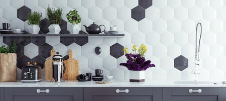 Photo pour Panoramic modern kitchen interior background, 3d render - image libre de droit