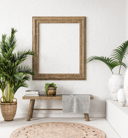 Foto de Old wooden frame mock-up in interior background,Scandi-boho style, 3d render - Imagen libre de derechos