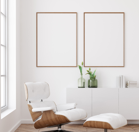 Photo pour Mockup poster frame in white living room interior background, Scandinavian style, 3d render - image libre de droit
