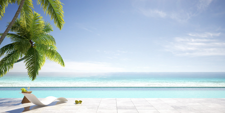 Tropical summer, beach lounge with palm trees, swimming pool of luxury villa, summer concept, 3d renderの写真素材