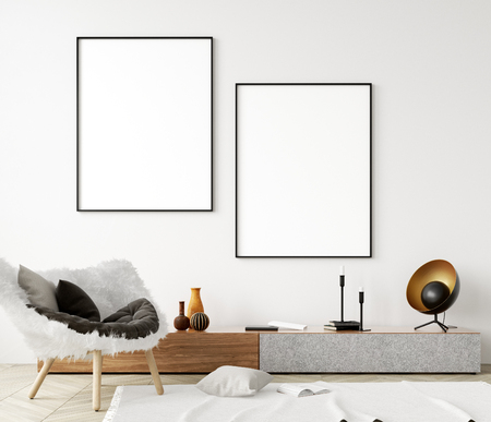 Photo for Mock up poster frame in modern home interior. Scandinavian style. 3d render - Royalty Free Image
