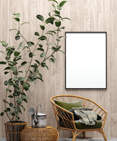 Photo pour Mock up poster in garden interior background with chair, wooden wall and plants, 3d render - image libre de droit