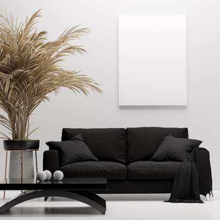 Photo for Modern home interior, mock up canvas, 3d render - Royalty Free Image