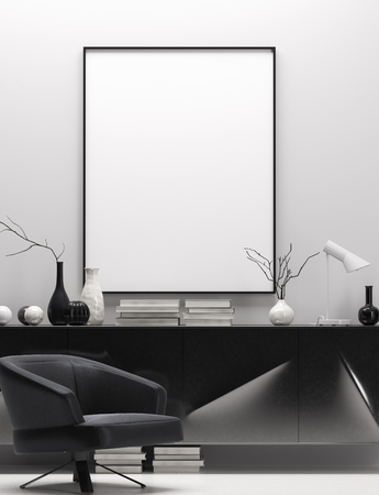 Photo pour Modern home interior in black and white colors, mock up poster frame, 3d render - image libre de droit