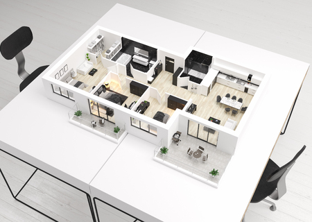 Photo pour Home floor plan, apartment interior layout on table. 3D render - image libre de droit