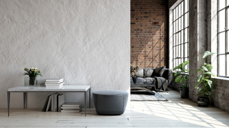 Photo pour Living room loft in industrial style ,3d render - image libre de droit