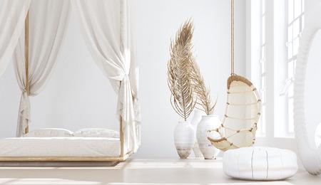 Photo pour Open bedroom with living room, Scandinavian bohemian style, 3d render - image libre de droit