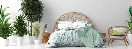 Photo pour Tropical bedroom interior, 3d render - image libre de droit