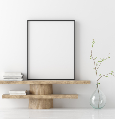 Photo pour Mock up poster on wooden bench with branch in vase, 3D render - image libre de droit