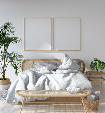 Photo for Mock-up poster frame in Scandinavian bedroom, Bohemian style, 3d render - Royalty Free Image