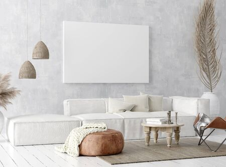 Photo pour Mock up poster frame in home interior background, Scandi-boho style, 3D render - image libre de droit