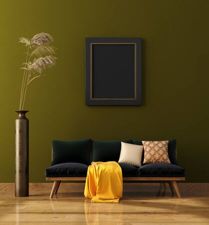 Foto de Modern home interior background, mock up poster wall, 3d render - Imagen libre de derechos