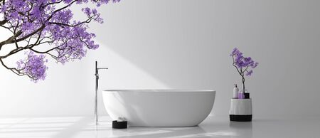 Modern bathroom interior with blossom tree, poster wall mock up, 3d renderの写真素材