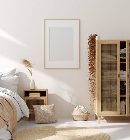 Foto de Mock up frame in bedroom interior, beige room with natural wooden furniture, Scandinavian style, 3d render - Imagen libre de derechos