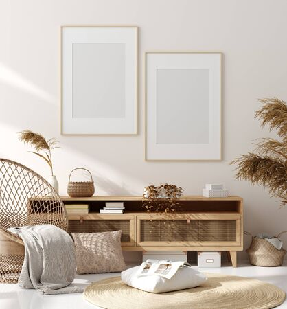 Foto de Mock up frame in home interior background, beige room with natural wooden furniture, Scandinavian style, 3d render - Imagen libre de derechos