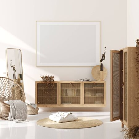 Photo pour Mock up frame in home interior background, beige room with natural wooden furniture, Scandinavian style, 3d render - image libre de droit