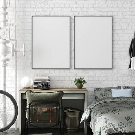 Photo pour Mock up poster in boy teenage bedroom interior background, industrial style, 3d render - image libre de droit