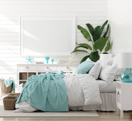 Foto de Mock up frame in bedroom interior, marine room with sea decor and furniture, Coastal style, 3d render - Imagen libre de derechos