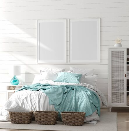 Photo for Mock up frame in bedroom interior, marine room with sea decor and furniture, Coastal style, 3d render - Royalty Free Image