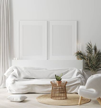 Foto de Mock up frame in cozy white home interior, Scandinavian style, 3d render - Imagen libre de derechos