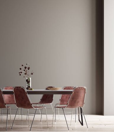 Photo for Wall, poster mock up in dining room, minimalist interior, 3d render - Royalty Free Image