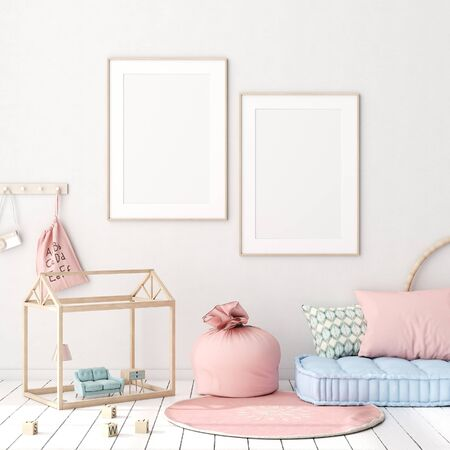 Photo for Mock up poster in kids bedroom interior background, Scandinavian style, 3D render - Royalty Free Image