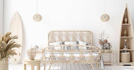 Foto de Mock-up poster,wall in bedroom, Scandinavian style, 3d render - Imagen libre de derechos