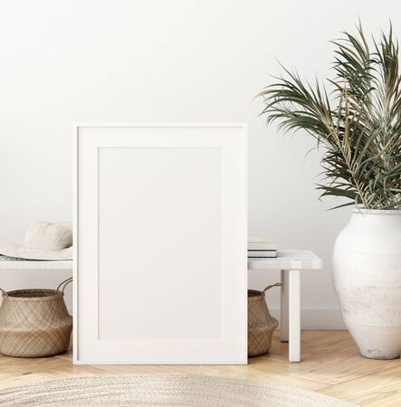 Foto de Mock up poster frame in modern living room interior. Interior Scandinavian style. 3d render - Imagen libre de derechos