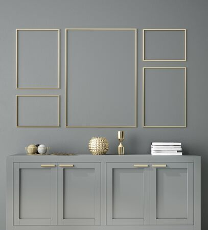 Photo pour Poster, wall mockup with cabinet and decor in interior background, 3d rendering - image libre de droit